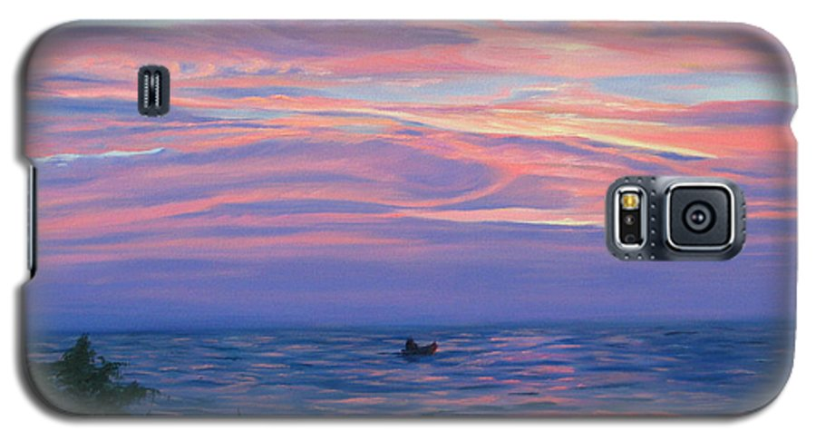 Seascape Galaxy S5 Case featuring the painting Sunset Bay by Lea Novak