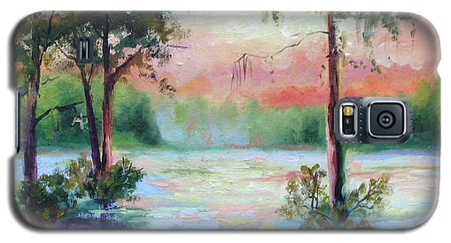 Sunset Galaxy S5 Case featuring the painting Sunset Bayou by Ginger Concepcion