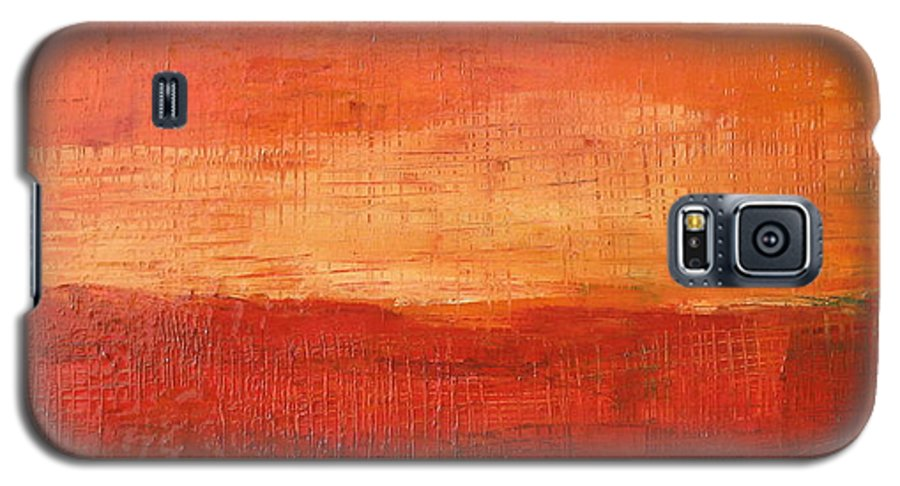 Abstract Galaxy S5 Case featuring the painting Sunset by Habib Ayat
