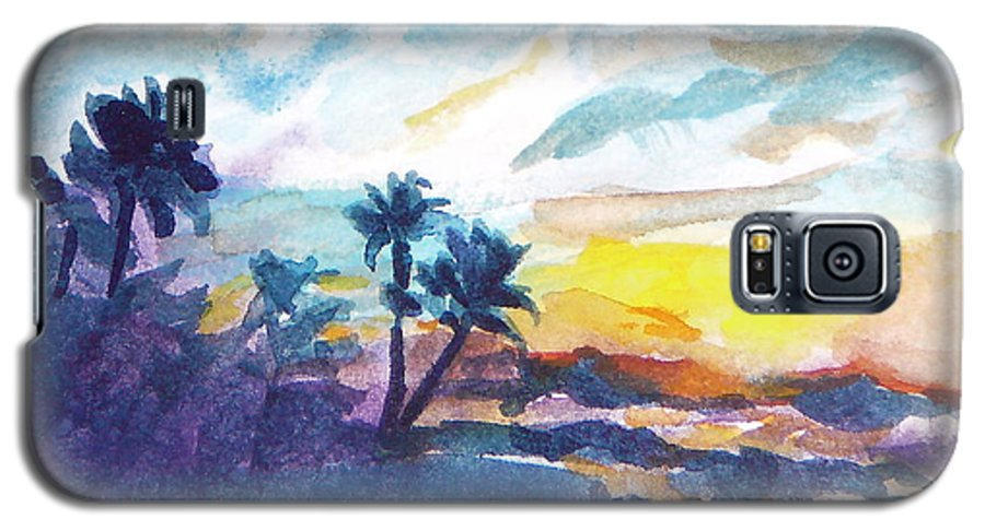 Landscape Galaxy S5 Case featuring the painting Sunset In Hawaii by Jan Bennicoff