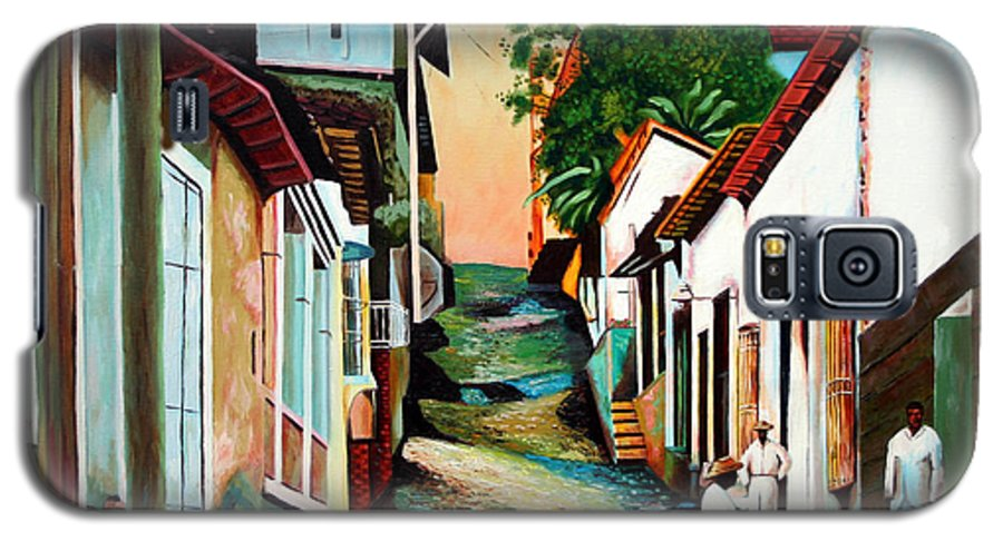 Cuban Art Galaxy S5 Case featuring the painting Sunset by Jose Manuel Abraham
