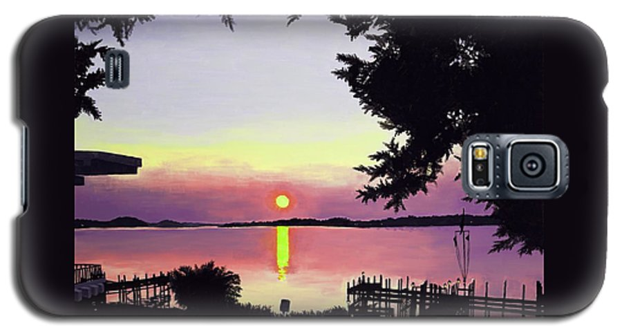 Sunset On Lake Galaxy S5 Case featuring the painting Sunset On Lake Dora by Judy Swerlick