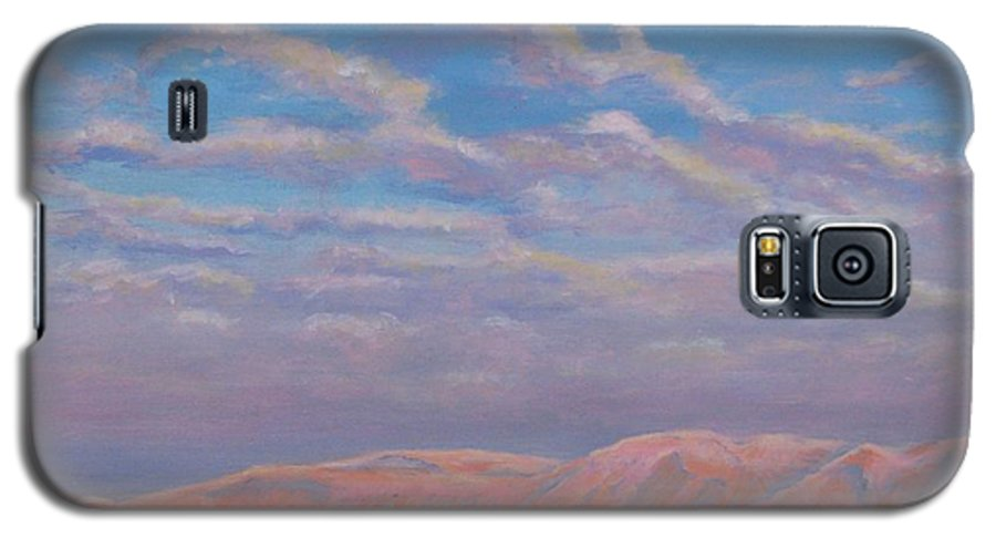 Sunset Galaxy S5 Case featuring the painting Sunset On The Dead Sea In Israel by Art Nomad Sandra Hansen