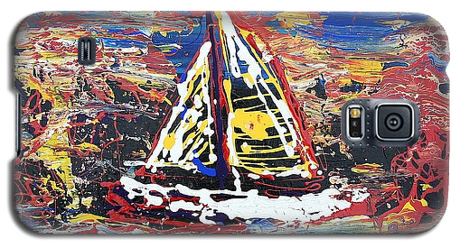 Sailboat Galaxy S5 Case featuring the painting Sunset On The Lake by J R Seymour