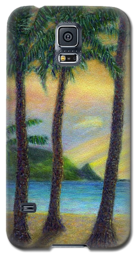 Rainbow Colors Pastel Galaxy S5 Case featuring the painting Sunset Palms by Kenneth Grzesik
