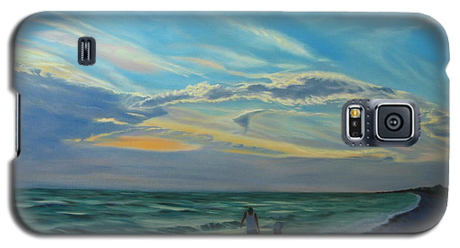 Seascape Galaxy S5 Case featuring the painting Sunset Treasure Hunt by Lea Novak