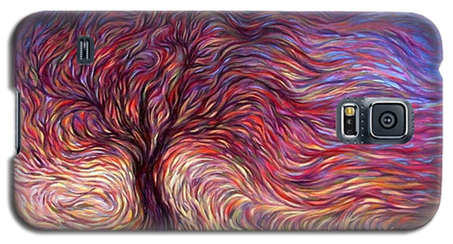 Tree Galaxy S5 Case featuring the painting Sunset Tree by Hans Droog