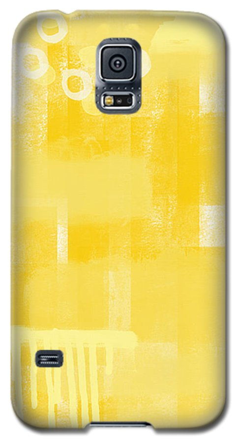 Sunshine Galaxy S5 Case featuring the painting Sunshine- Abstract Art by Linda Woods