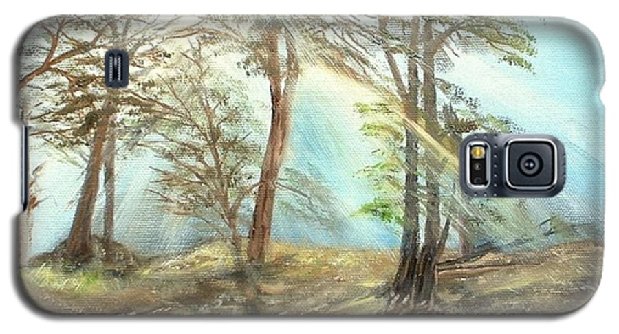 Landscape River Trees Sunshine Reflections Galaxy S5 Case featuring the painting Sunshine by Kenneth LePoidevin