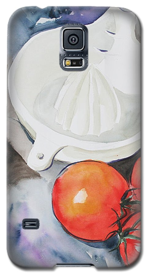Tomatoes Galaxy S5 Case featuring the painting Sunshine On The Vine by Jean Blackmer