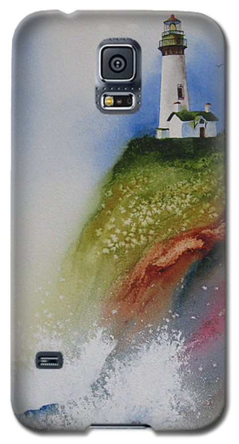 Lighthouse Galaxy S5 Case featuring the painting Surfside by Karen Stark