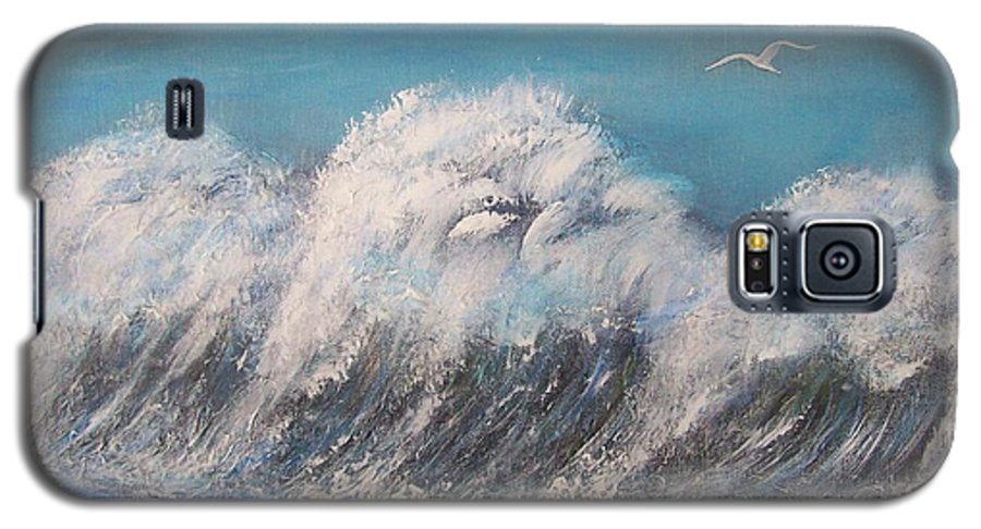 Surreal Tsunami Galaxy S5 Case featuring the painting Surreal Tsunami by Tony Rodriguez