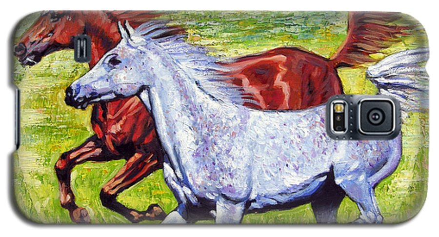 Horses Running Galaxy S5 Case featuring the painting Sweet Harmony by John Lautermilch