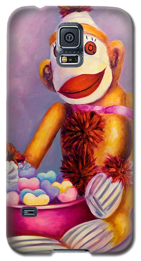 Heart Galaxy S5 Case featuring the painting Sweetheart Made Of Sockies by Shannon Grissom