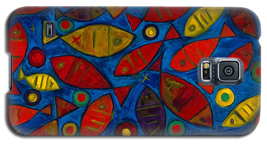 Fishes Galaxy S5 Case featuring the painting Swimming With The Fishes by Emeka Okoro