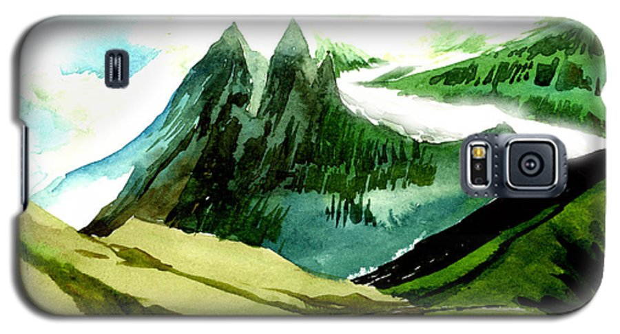 Landscape Galaxy S5 Case featuring the painting Switzerland by Anil Nene