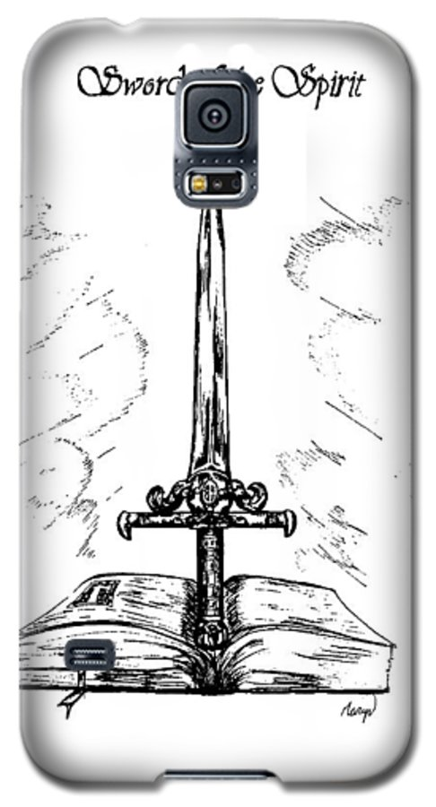 Sword Galaxy S5 Case featuring the drawing Sword Of The Spirit by Maryn Crawford