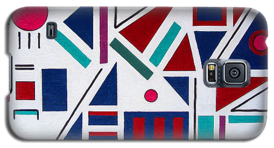 Abstract Galaxy S5 Case featuring the painting Symmetry In Blue Or Red by Marco Morales