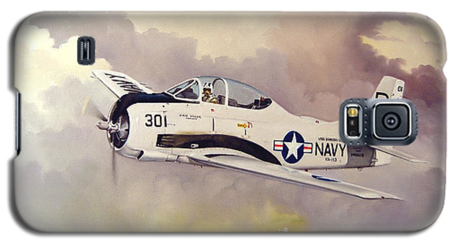 Military Galaxy S5 Case featuring the painting T-28 Over Iowa by Marc Stewart