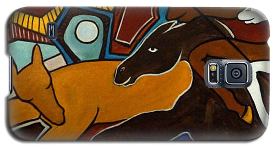 Horse Abstract Galaxy S5 Case featuring the painting Taffy Horses by Valerie Vescovi