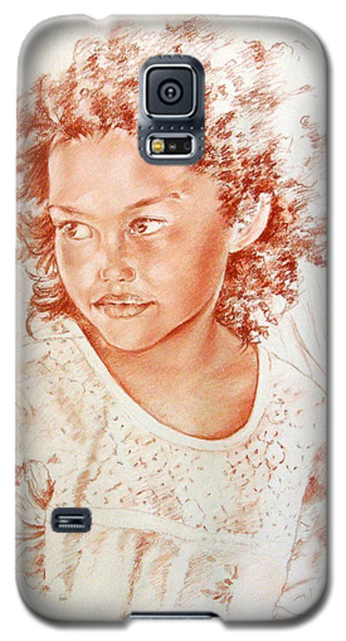 Drawing Persons Galaxy S5 Case featuring the painting Tahitian Girl by Miki De Goodaboom