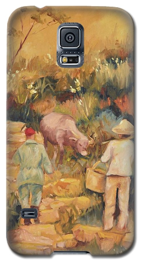 Water Buffalo Galaxy S5 Case featuring the painting Taipei Buffalo Herder by Ginger Concepcion