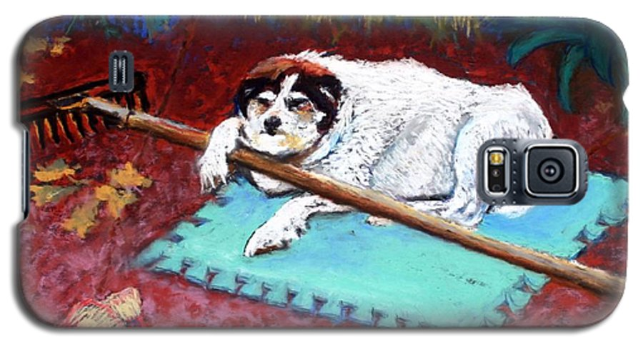Dog Galaxy S5 Case featuring the painting Take A Break by Minaz Jantz