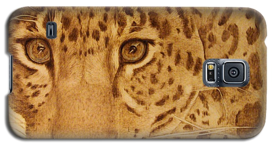 Jaguar; Sepia; Wild Life; Africa; Eyes; Zoo; Cat; Galaxy S5 Case featuring the pyrography Take One Step Closer by Jo Schwartz