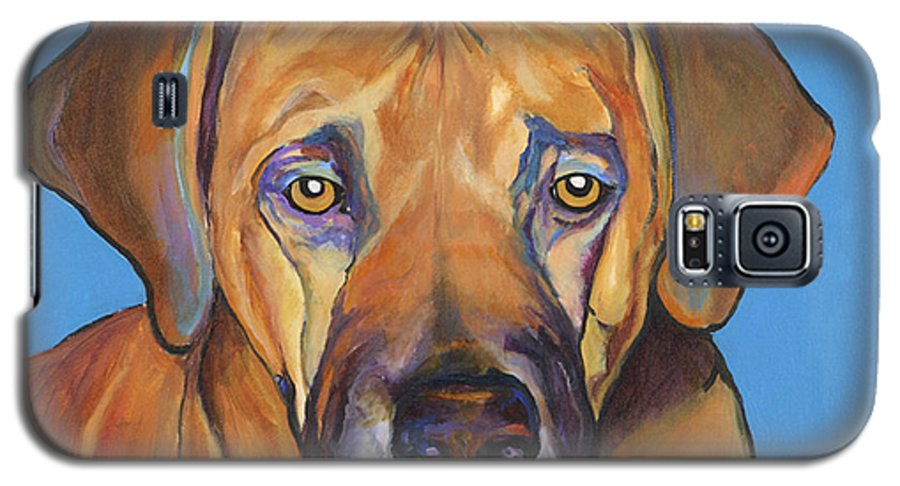 Rhodesian Ridgeback Dog Ridgeback African Colorful Orange Gold Yellow Red Galaxy S5 Case featuring the painting Talen by Pat Saunders-White