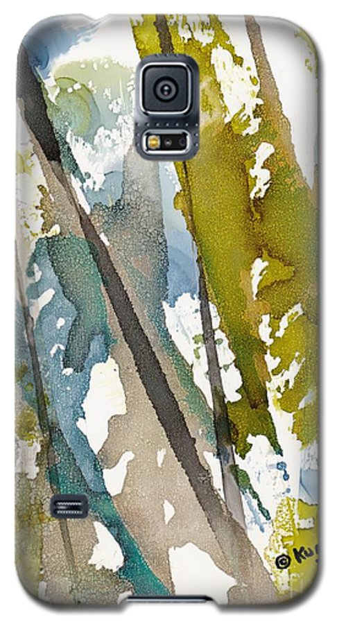 Forest Galaxy S5 Case featuring the painting Tall Timber by Susan Kubes