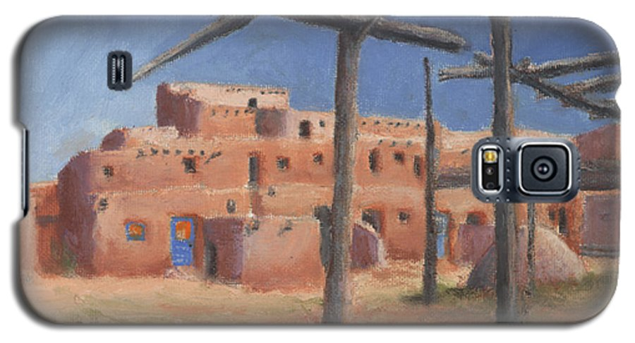 Taos Galaxy S5 Case featuring the painting Taos Pueblo by Jerry McElroy