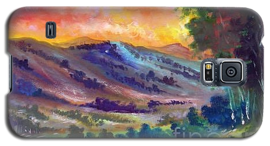 Landscape Galaxy S5 Case featuring the painting Tarde De Sol by Leomariano artist BRASIL