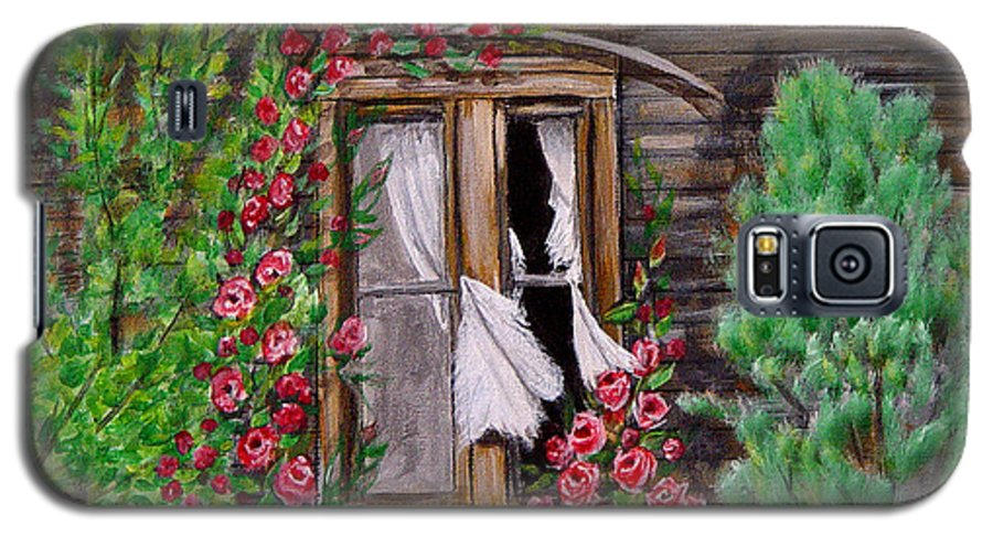 Curtains Galaxy S5 Case featuring the painting Tattered Curtains by Quwatha Valentine