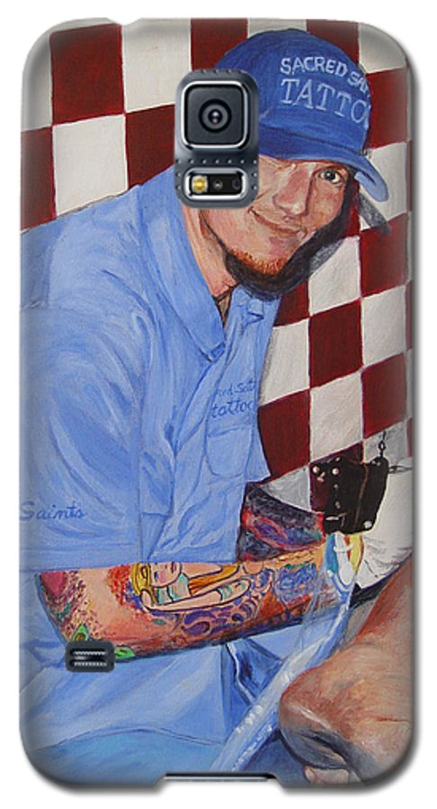 Tattoo Galaxy S5 Case featuring the painting Tattoo Artist - Brandon Notch by Quwatha Valentine