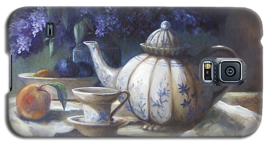 Teapot Galaxy S5 Case featuring the painting Tea And Lilacs by Ruth Stromswold