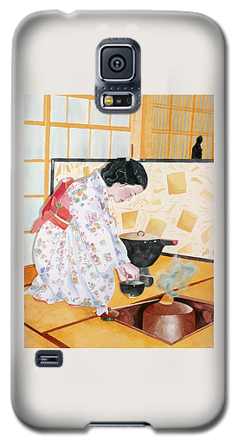 Japanese Woman Performing Tea Ceremony Galaxy S5 Case featuring the painting Tea Ceremony by Judy Swerlick