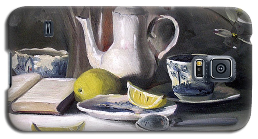 Lemon Galaxy S5 Case featuring the painting Tea With Lemon by Nancy Griswold