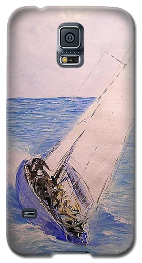 Seascape Galaxy S5 Case featuring the painting Tell Tails In The Wind by Lizzy Forrester