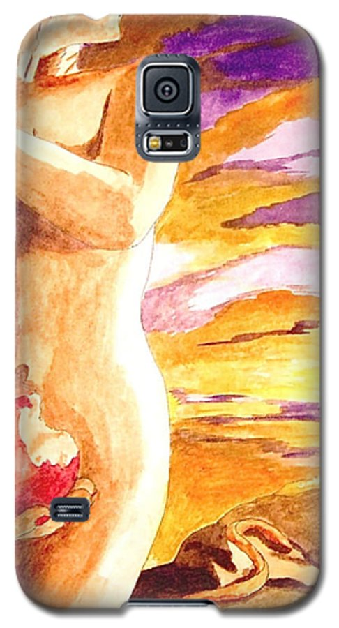 Watercolor Galaxy S5 Case featuring the painting Temptation by Herschel Fall