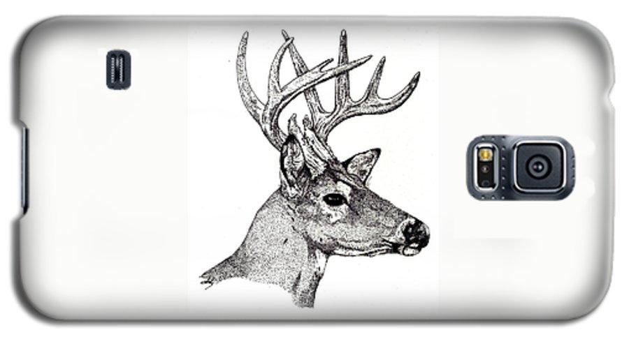 Deer Galaxy S5 Case featuring the drawing Ten Point Buck by Debra Sandstrom