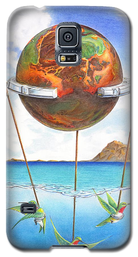 Surreal Galaxy S5 Case featuring the painting Tethered Sphere by Melissa A Benson