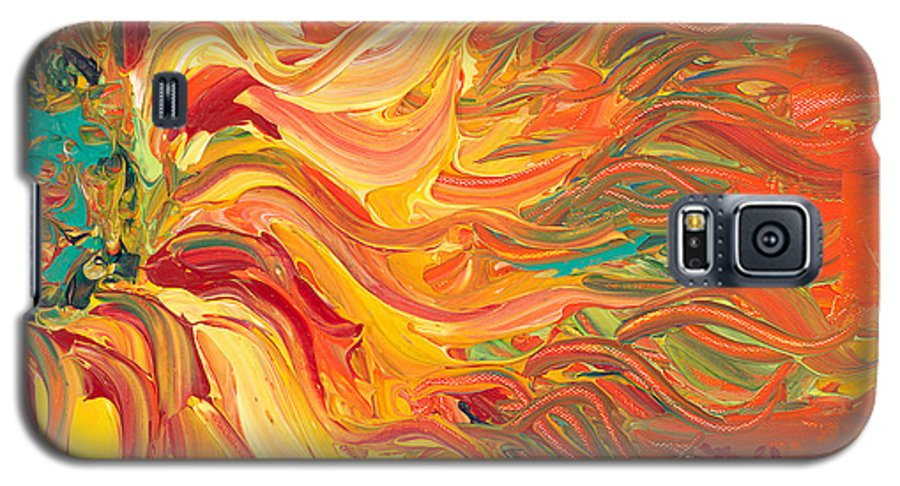 Sunjflower Galaxy S5 Case featuring the painting Textured Fire Sunflower by Nadine Rippelmeyer