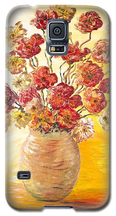 Flowers Galaxy S5 Case featuring the painting Textured Flowers In A Vase by Nadine Rippelmeyer