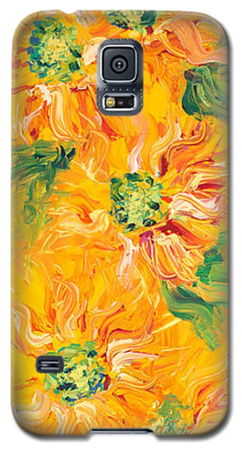 Yellow Galaxy S5 Case featuring the painting Textured Yellow Sunflowers by Nadine Rippelmeyer