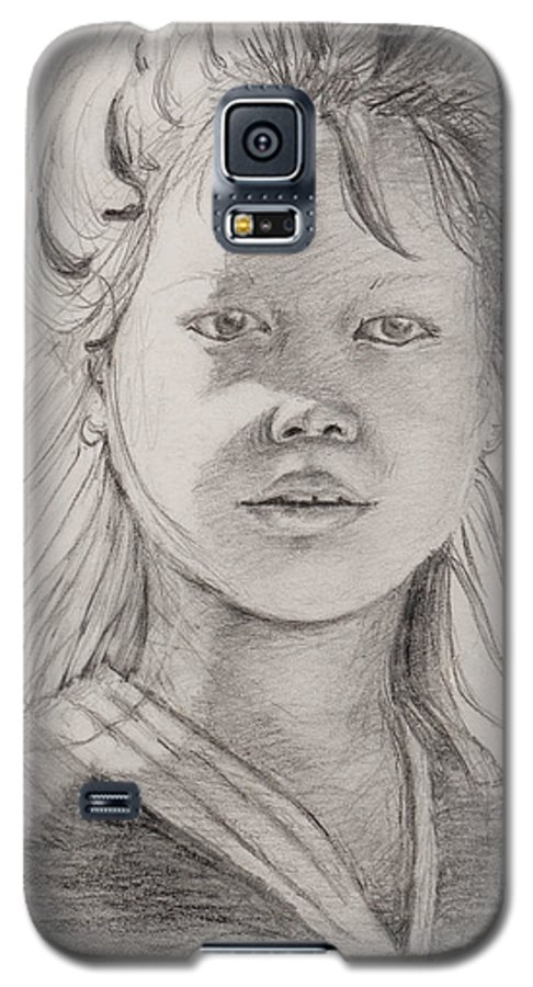 Portrait Galaxy S5 Case featuring the drawing Thai Beauty by Nadine Rippelmeyer