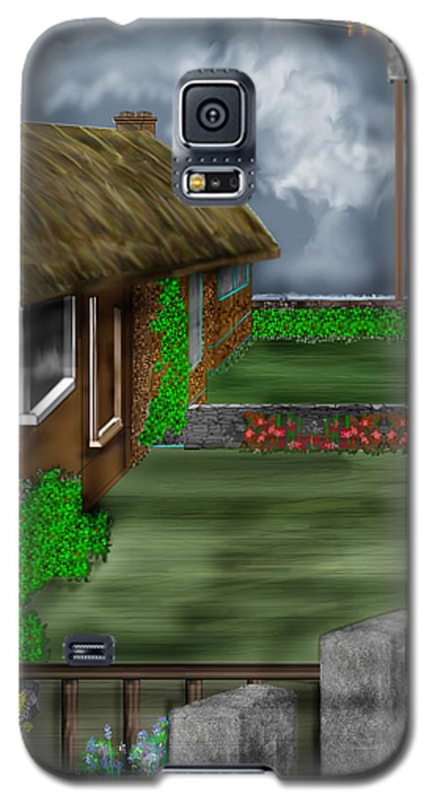 Cottages Galaxy S5 Case featuring the painting Thatched Roof Cottages In Ireland by Anne Norskog