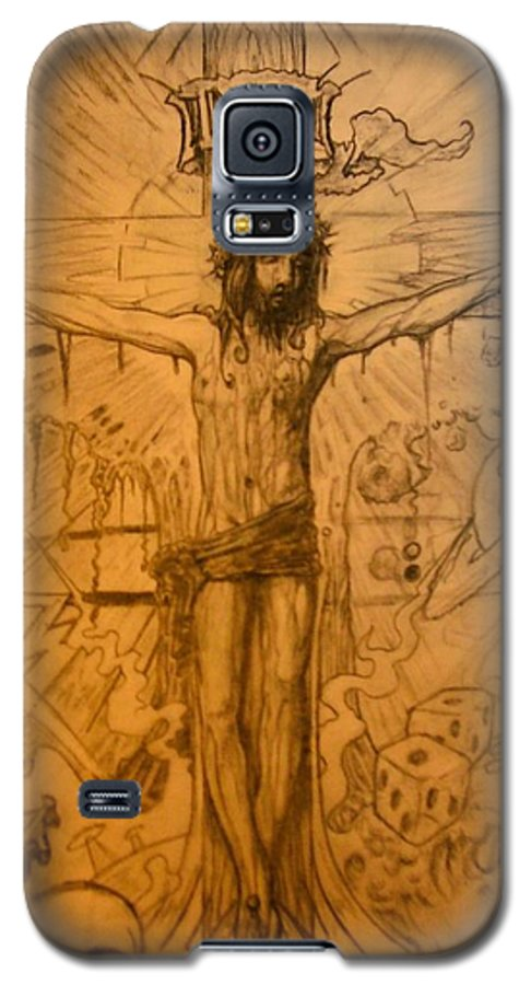 Jesus Galaxy S5 Case featuring the drawing The Ace Of Hearts by Will Le Beouf