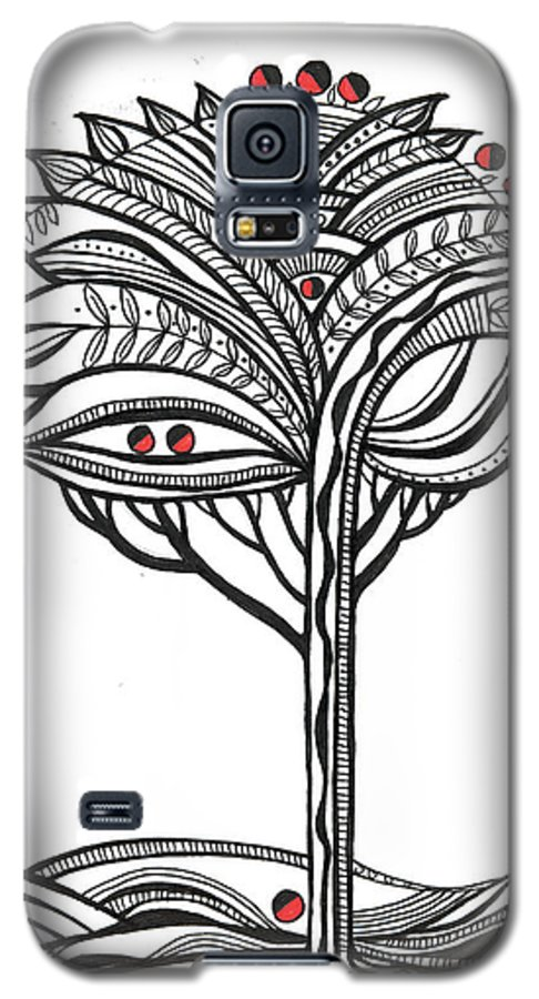 Abstract Galaxy S5 Case featuring the drawing The Apple Tree by Aniko Hencz