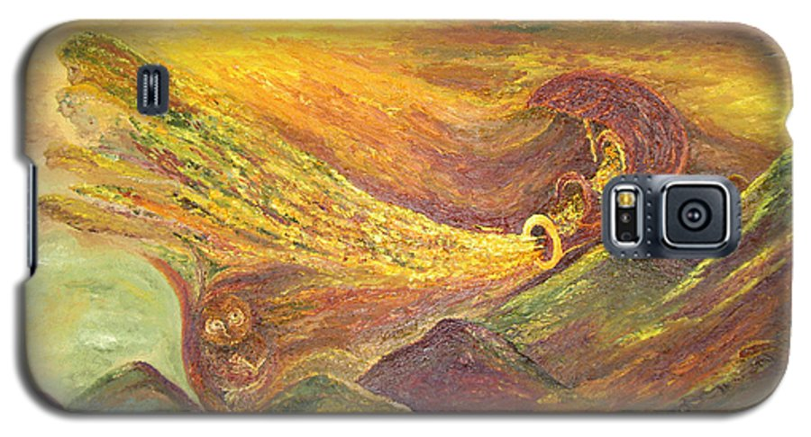 Autumn Galaxy S5 Case featuring the painting The Autumn Music Wind by Karina Ishkhanova