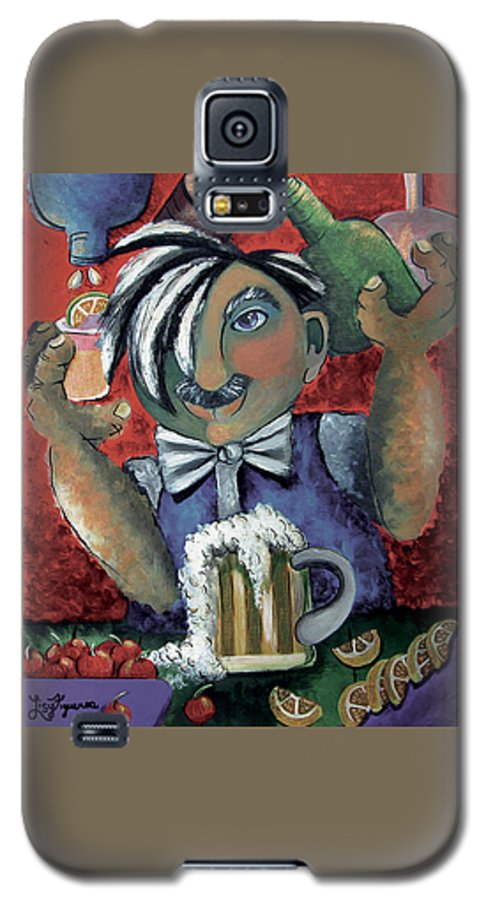 Bartender Galaxy S5 Case featuring the painting The Bartender by Elizabeth Lisy Figueroa